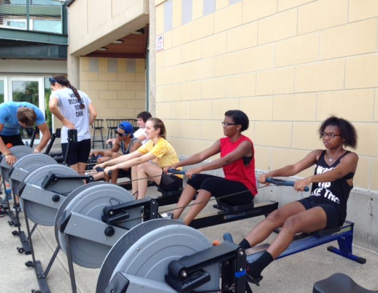 Summer campers erging