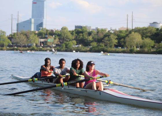Girls four rowing